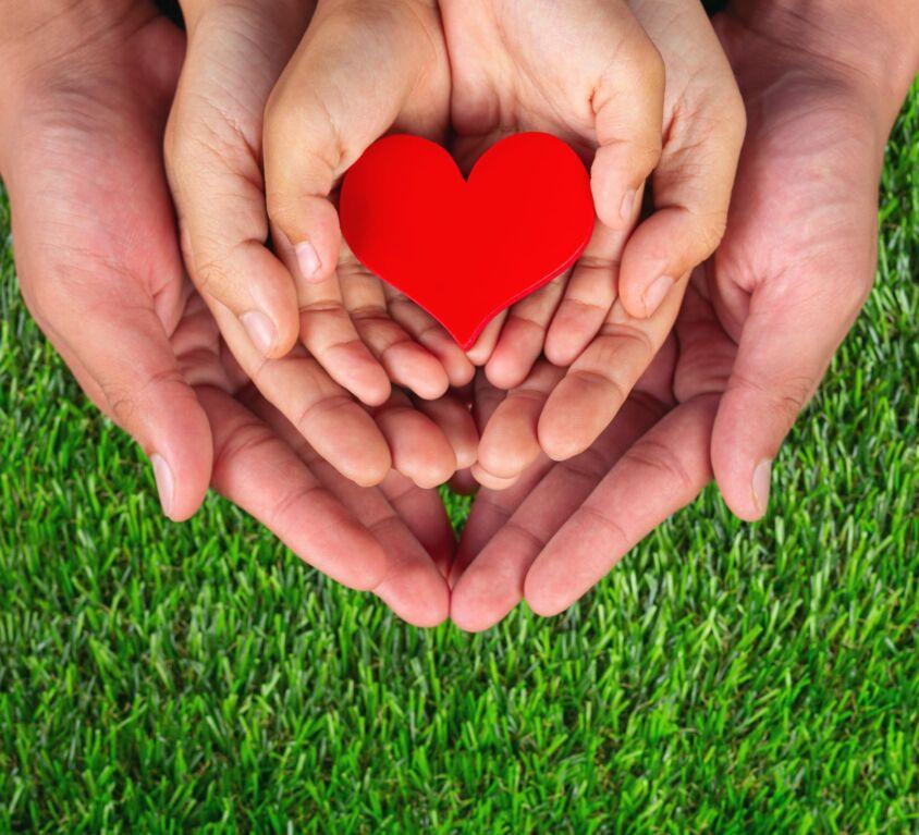 red heart shape in family member's hands holding